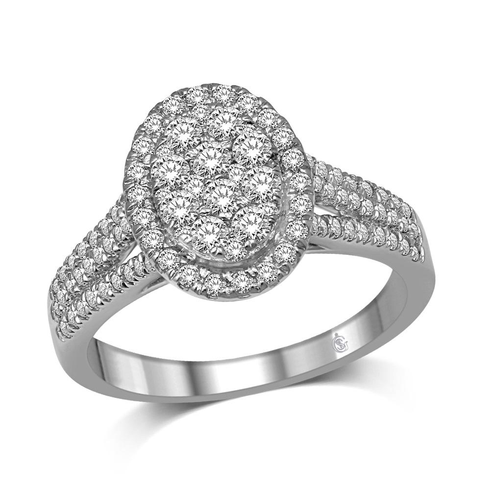 Ring for woman - 14K white Gold & Diamonds T.W. 0.90 Carat