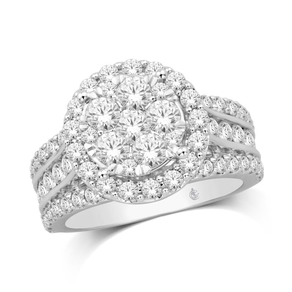 Ring for woman - 14K white Gold & Diamonds T.W. 3.00 Carat