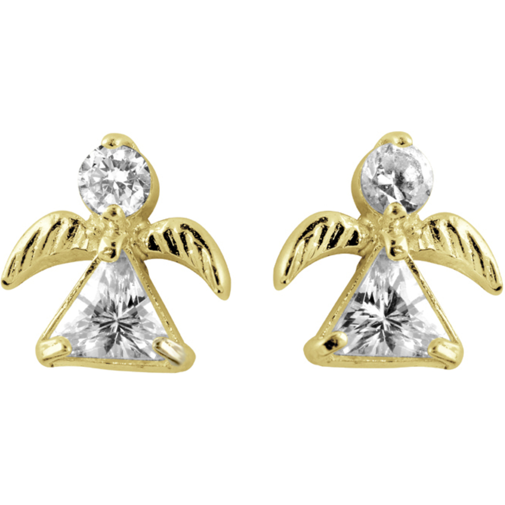 Earrings angel with cubic zirconnium 14K yellow Gold