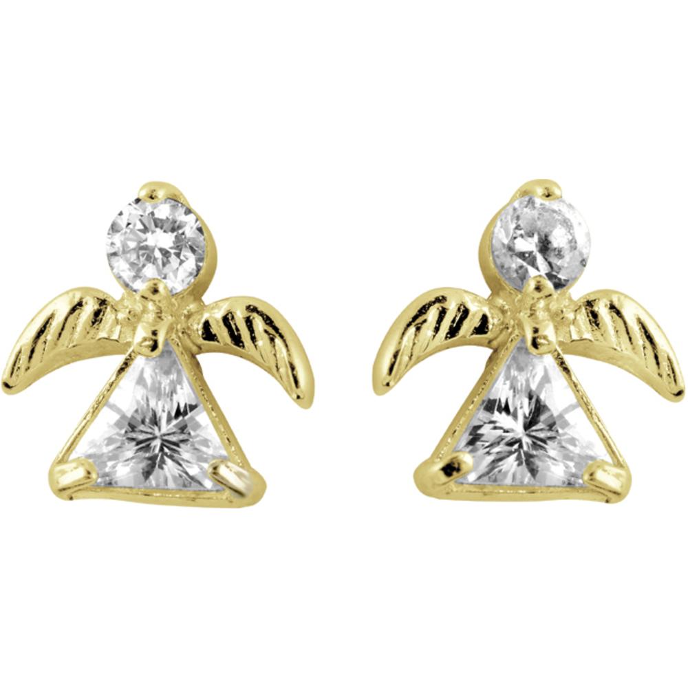 Boucles d'oreilles Enfant Or jaune 14K 'Anges' sertis de Zirconiums cubiques