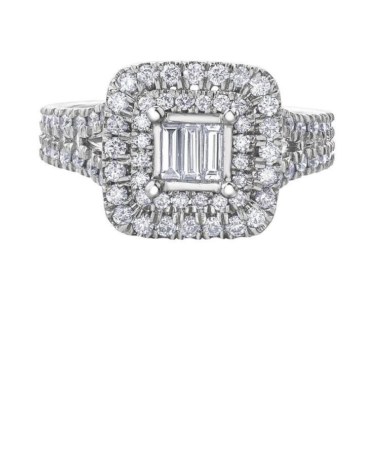 Ring for woman - 14K white Gold & Diamonds T.W. 1.00 Carat