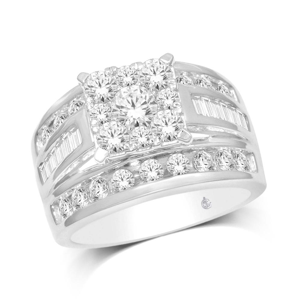 Ring for woman - 10K white Gold & Diamonds T.W. 2.00 Carat