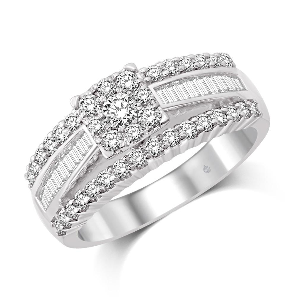 Ring for woman - 14K white Gold & Diamonds T.W. 4.00 Carat