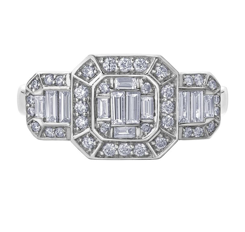 Ring for woman - 14K white Gold & Diamonds T.W. 0.68 Carat