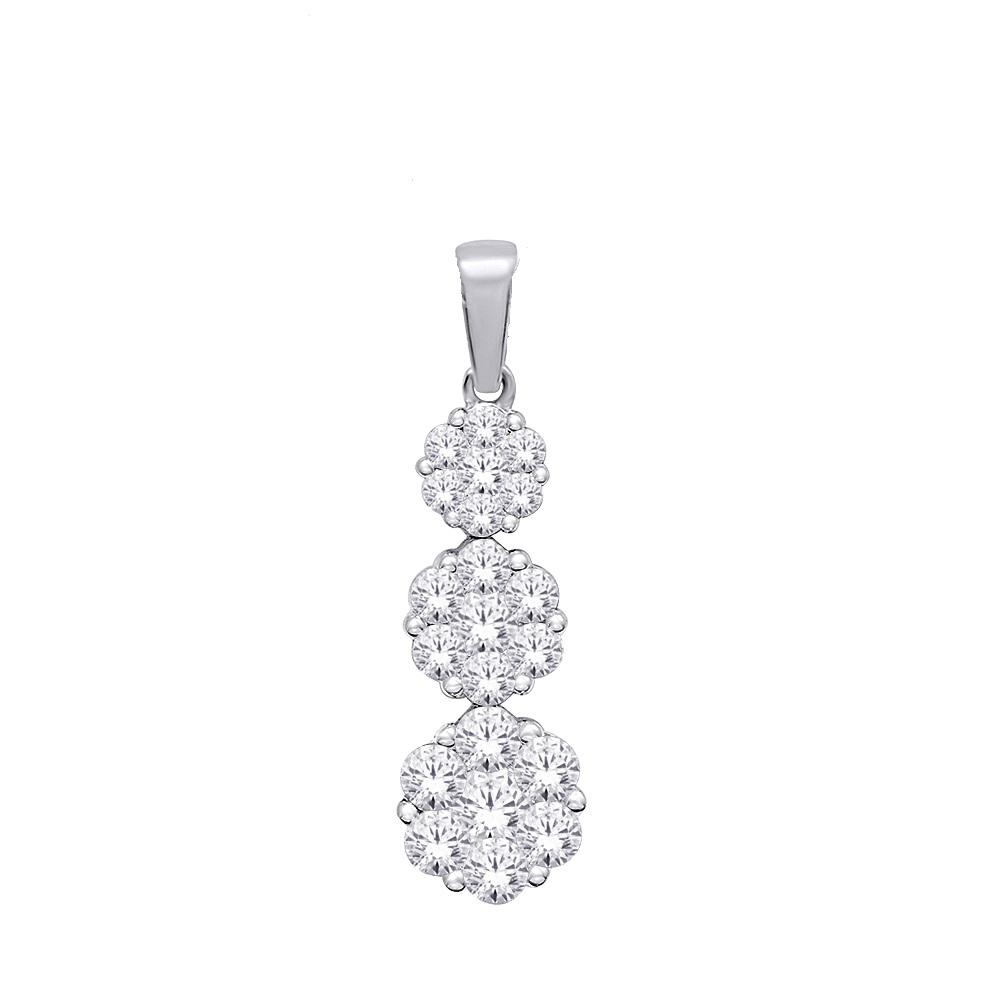 Flower pendant for woman - 14K white Gold & Diamonds T.W. 0.46 Carat