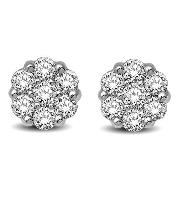 Boucles d'oreilles fleurs à tiges fixes pour femme - Or blanc 14K & Diamants totalisant 0.75 Carat