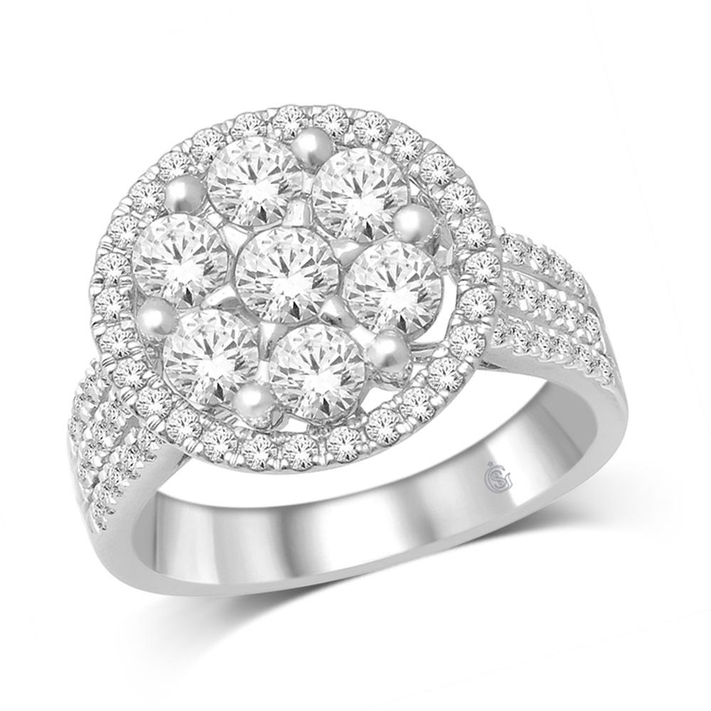 Ring for woman - 14K white Gold & Diamonds T.W. 2.00 Carat