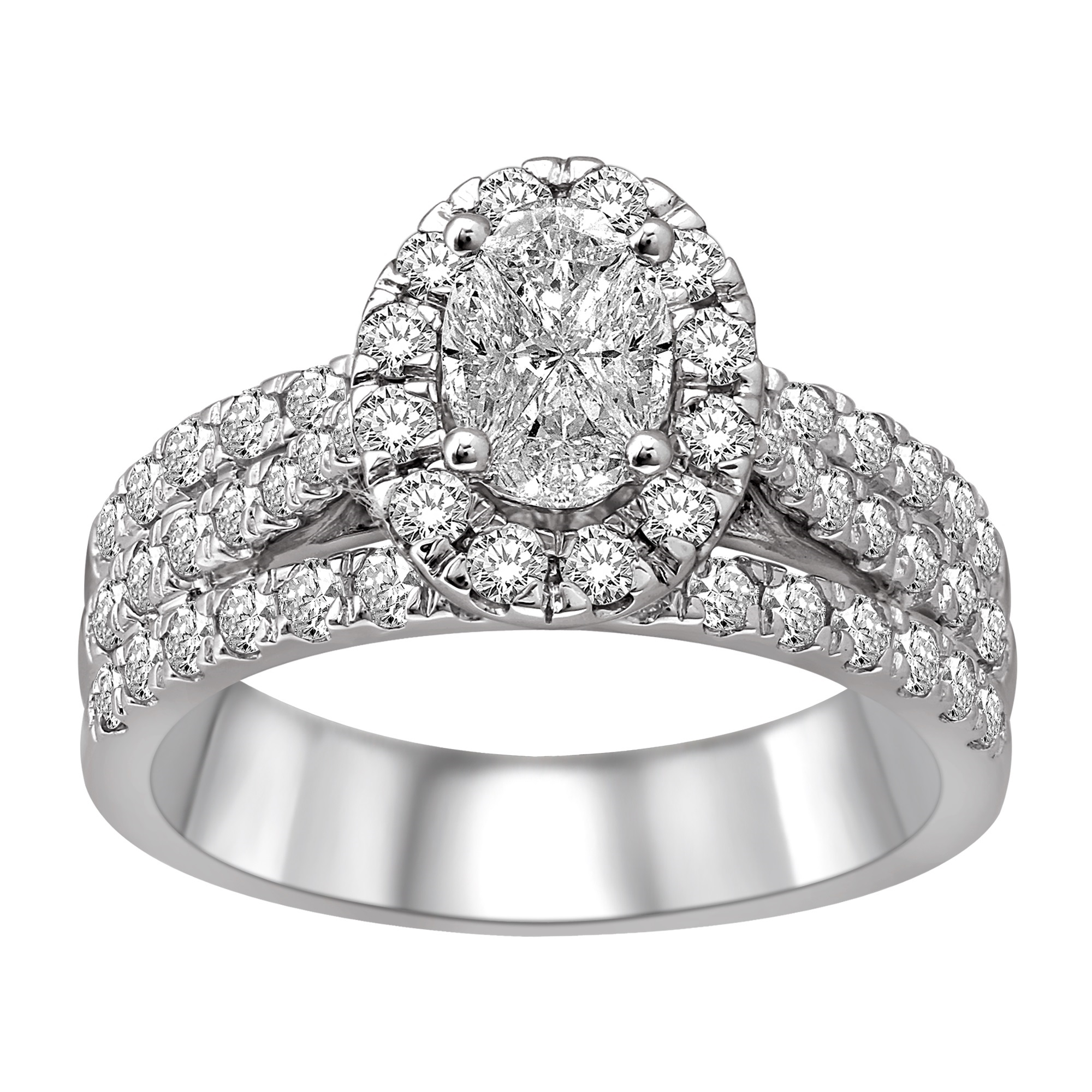 Ring for woman - 14K white Gold & Diamonds T.W. 1.50 Carat