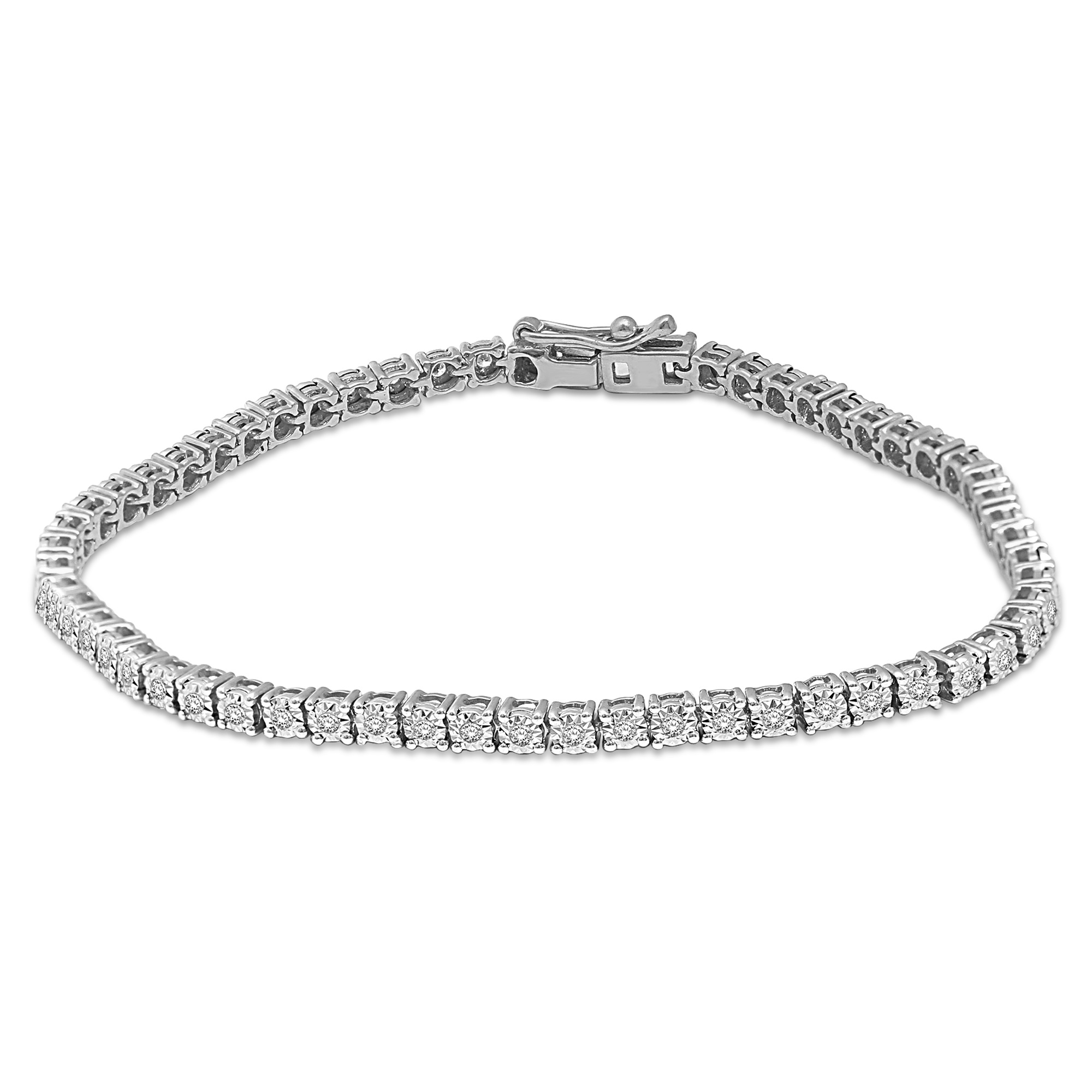 Bracelet tennis pour femme - Or blanc 14K & Diamants totalisant 1.00 Carat
