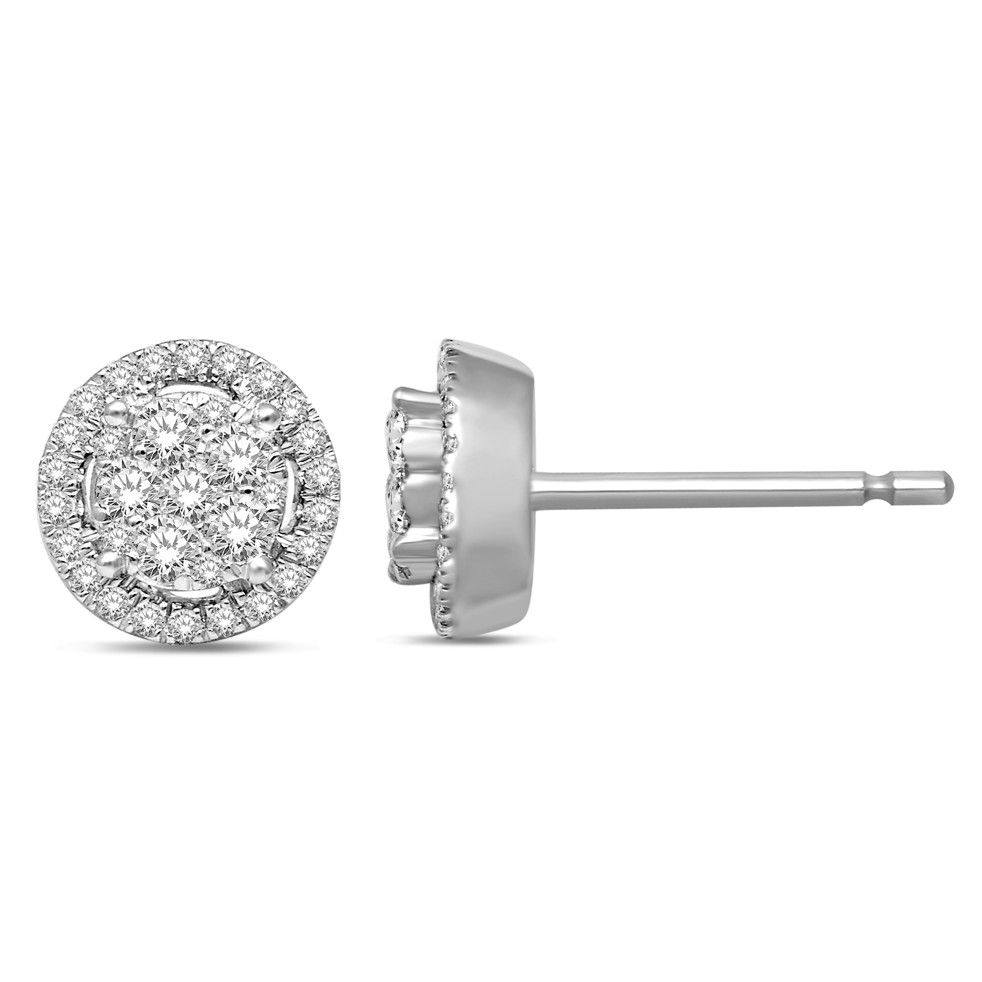 Boucles d'oreilles à tiges fixes pour femme - Or blanc 14K & Diamants totalisant 1.00 Carat