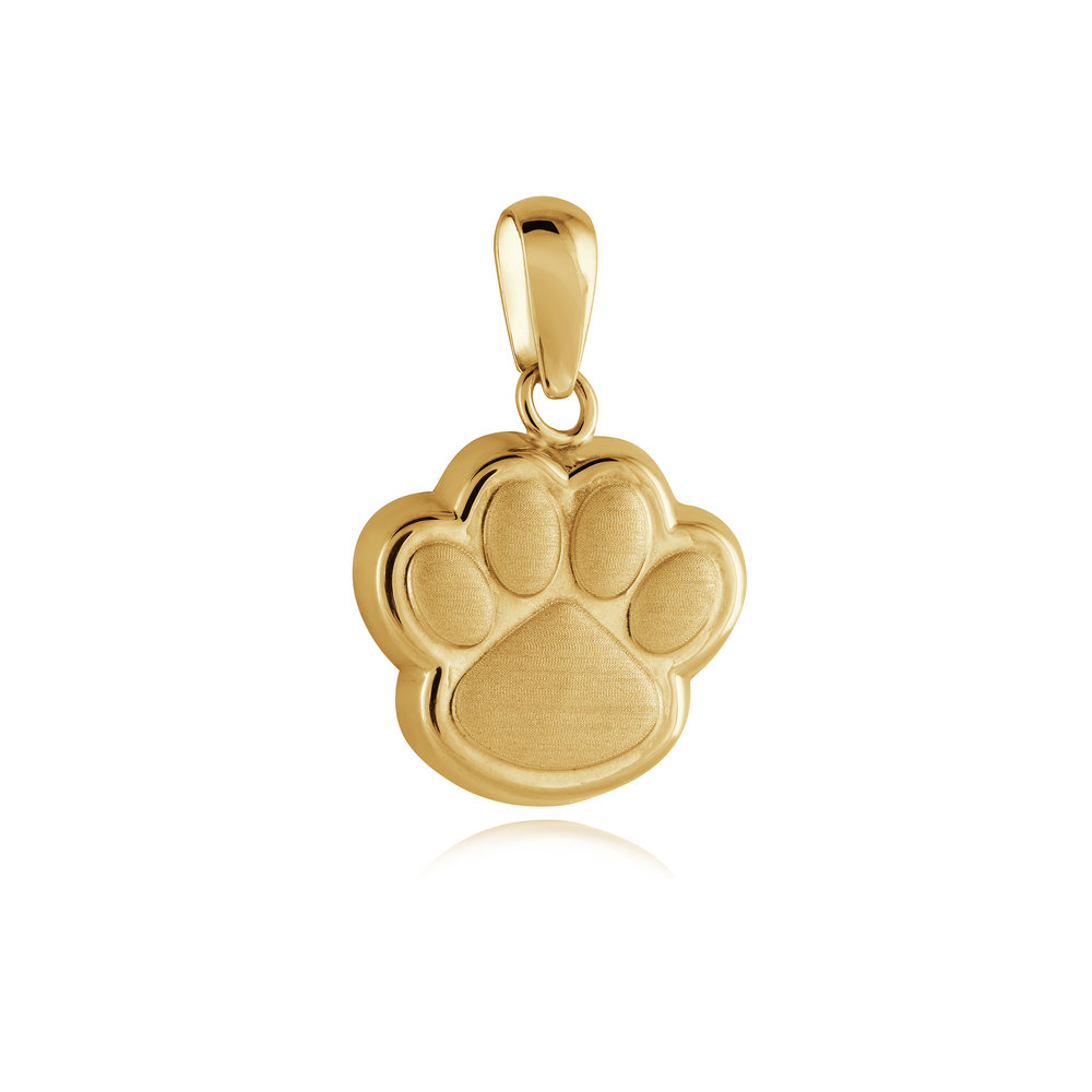 Paw pendant for child - 10K yellow Gold