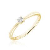 Bague de fiançailles pour femme - Or jaune 10K & Diamant solitaire de 0.08 Carat