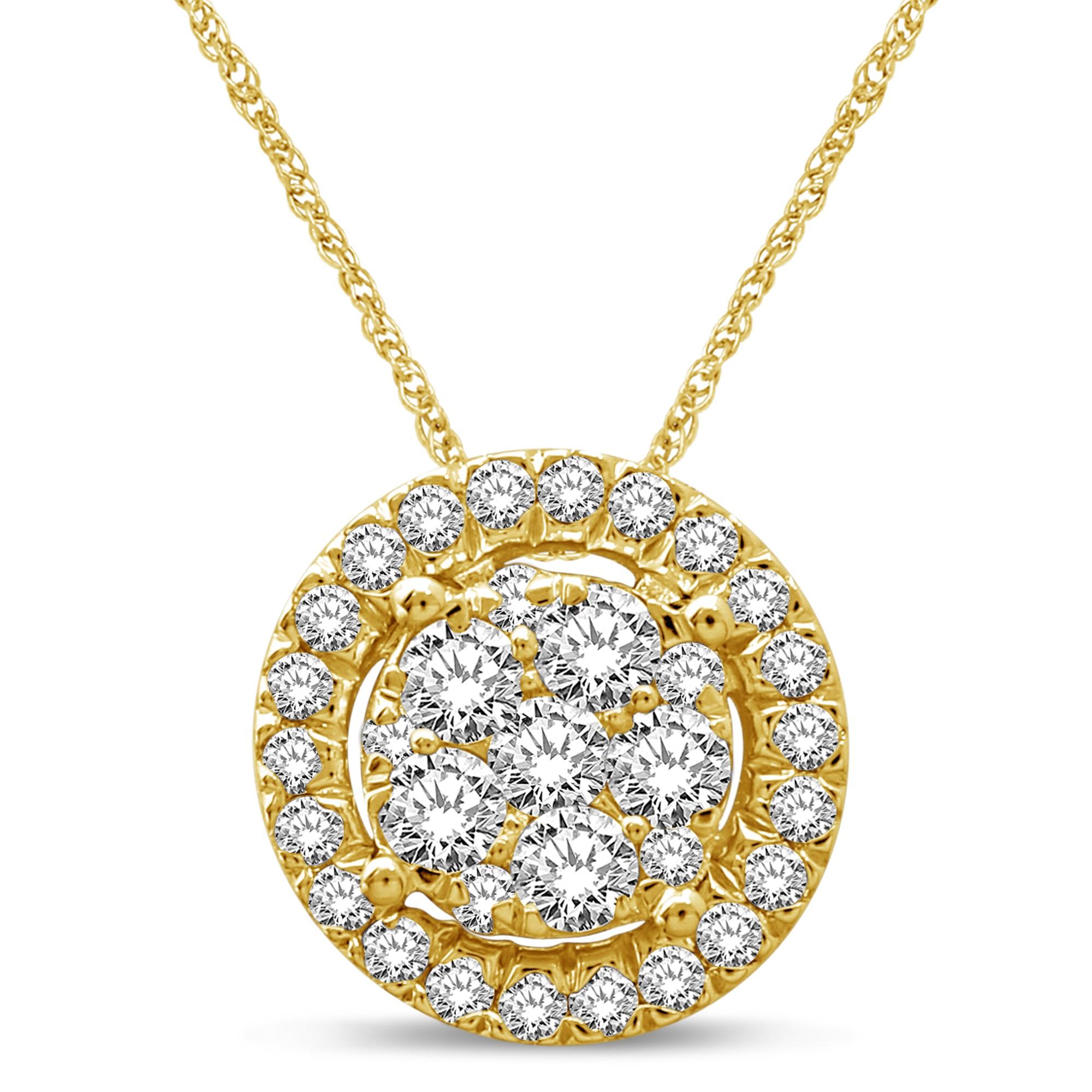 Pendentif  pour femme - Or jaune 14K & Diamants totalisant 0.34 Carat