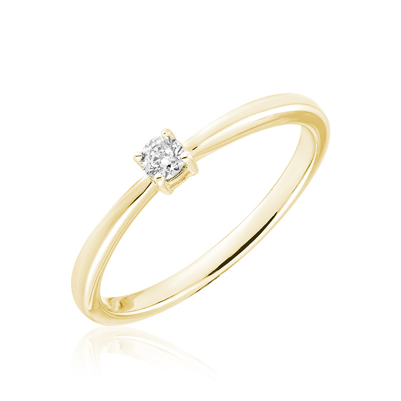 Engagement ring for woman - 10K yellow Gold & Solitaire diamond T.W. 0.15 Carat