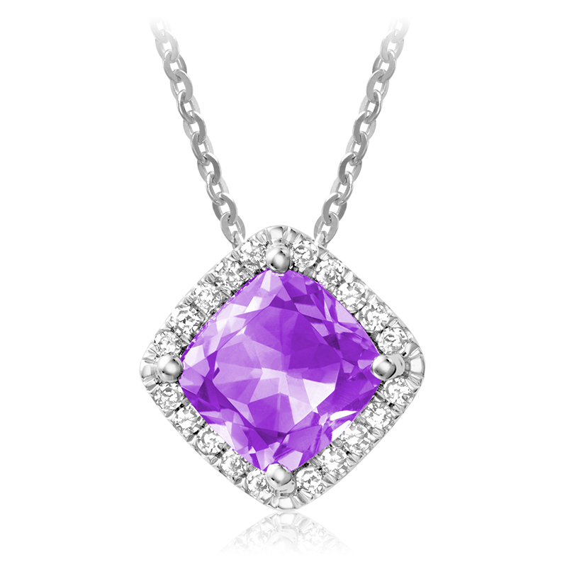 Pendant for woman - 10K white gold with diamonds & amethyst