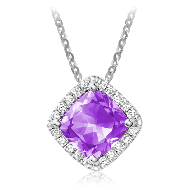 Pendentif pour femme - Or blanc 10K avec diamants et améthyste
