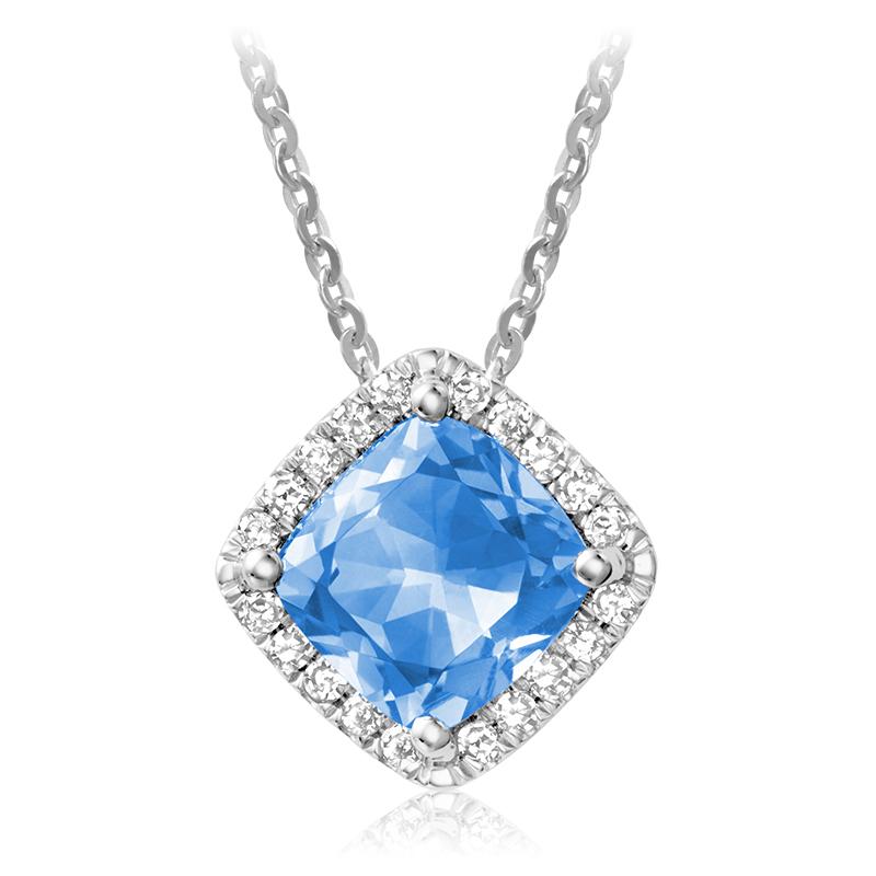 Pendant for woman - 10K white gold with diamonds & blue topaz
