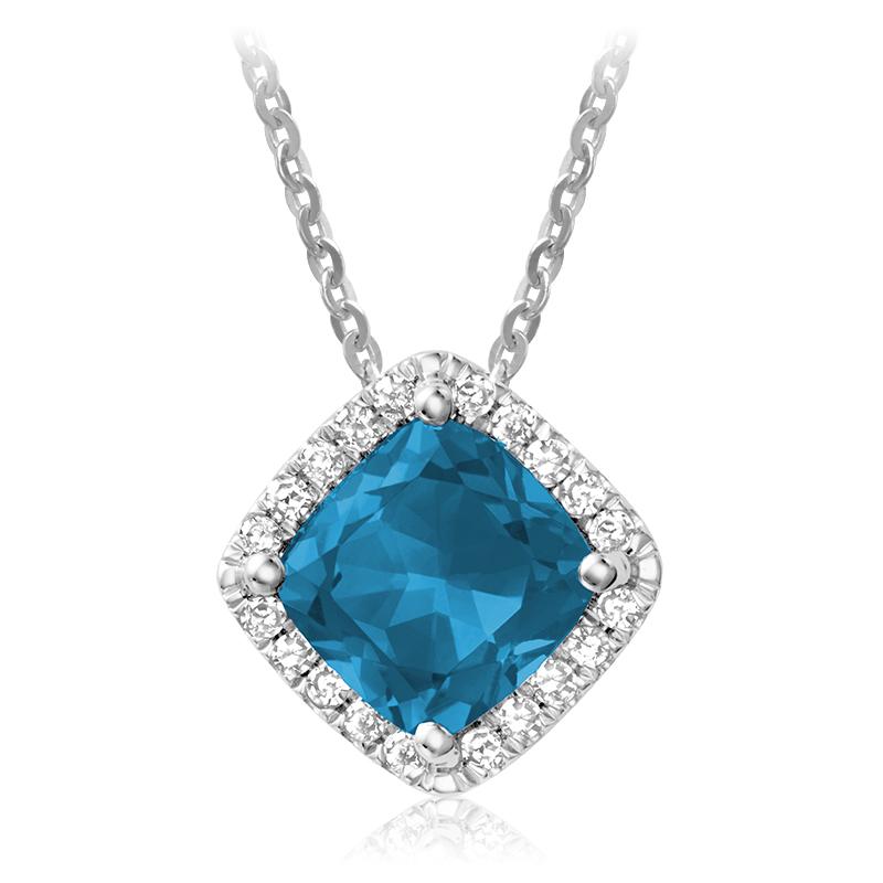 Pendentif pour femme - Or blanc 10K avec topaze bleue Londres & diamants