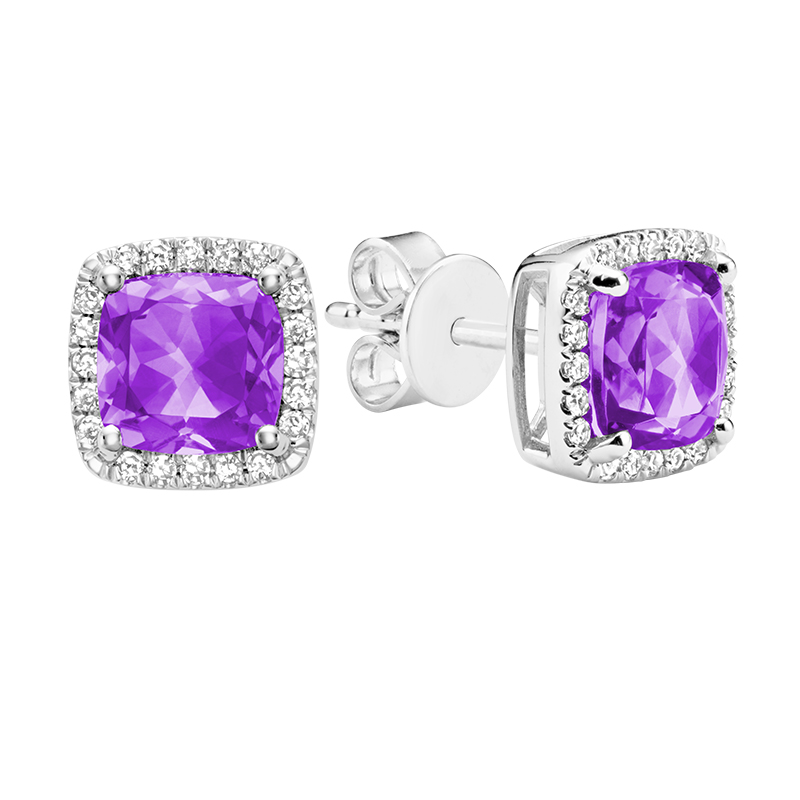 Stud earrings for woman - 10K white gold set with diamonds and amethysts