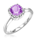 Ring for woman - 10K white gold with diamonds & amethyst