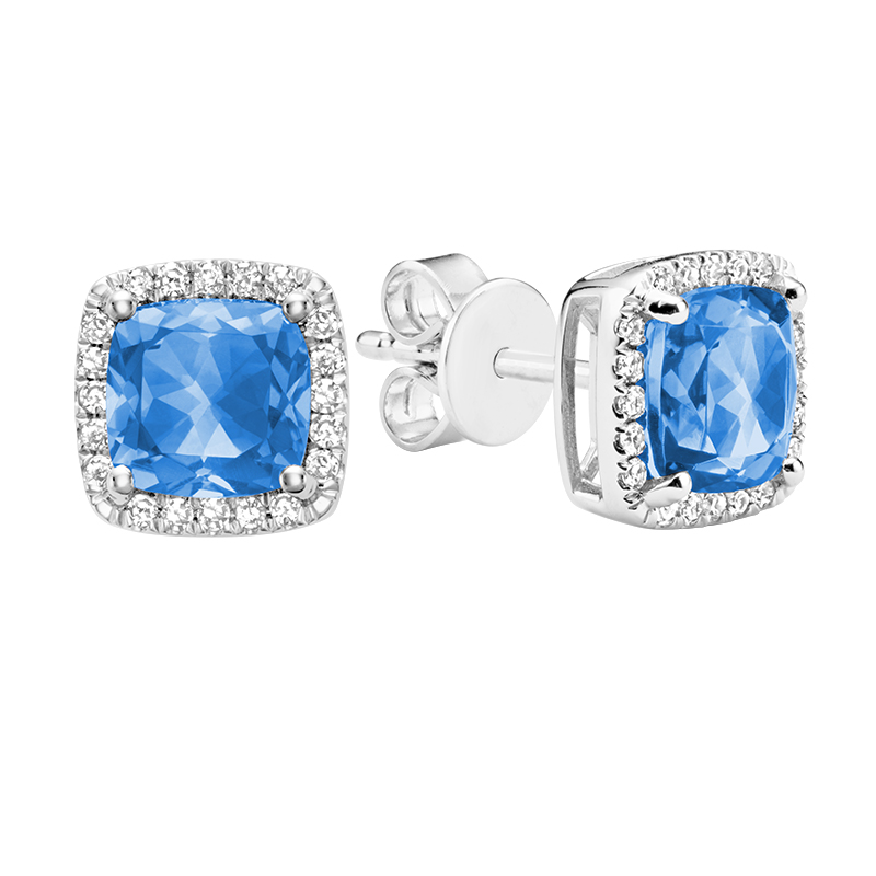 Stud earrings for woman - 10K white gold set with diamonds and blue topaz