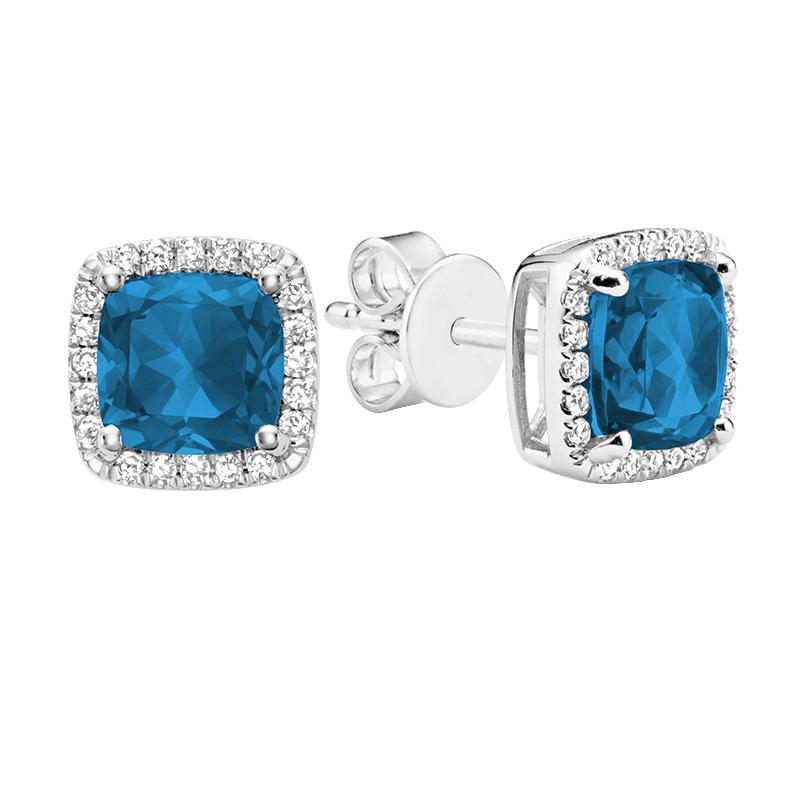 Boucles d'oreilles à tiges fixes pour femme - Or blanc 10K avec diamants et topazes bleues Londres