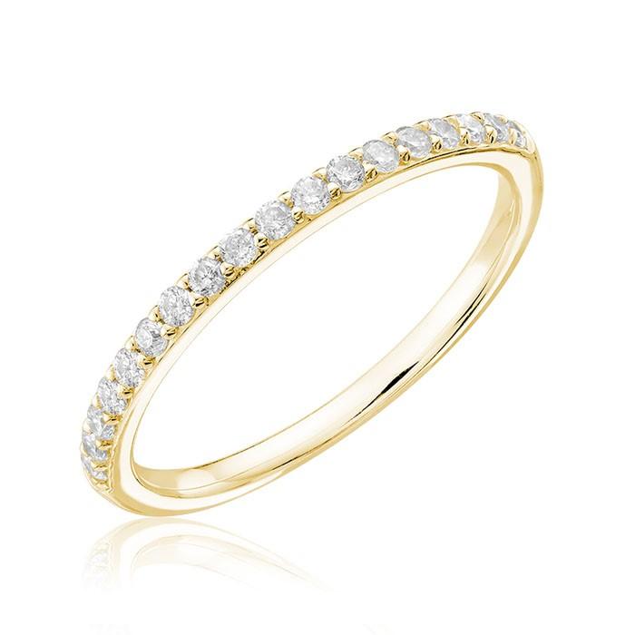 Jonc semi-éternité pour femme - Or jaune 14K & Diamants totalisant 0.20 Carat