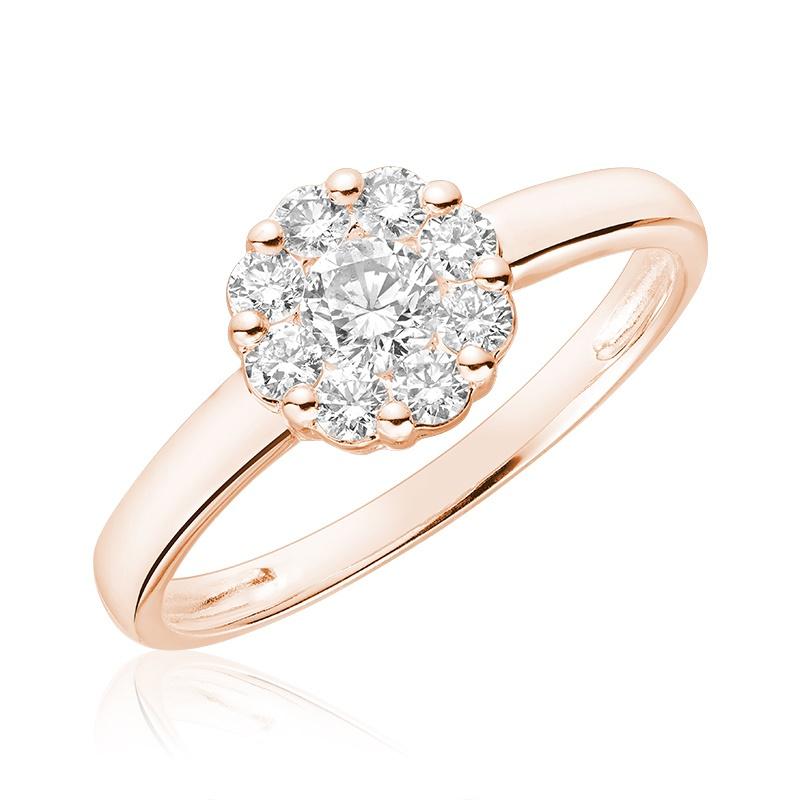Flower ring for woman - 10K rose gold & Diamonds