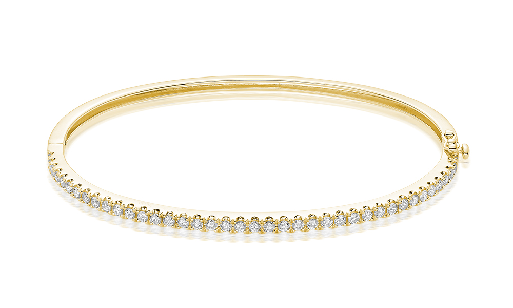 Bracelet rigid pour femme - Or jaune 10K & Diamants totalisant 0.35 Carat