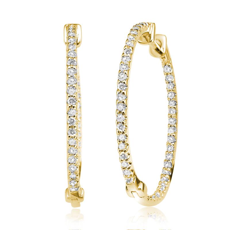 Boucles d'oreilles anneaux pour femme - Or jaune 10K & Diamants totalisant 0.15 Carat