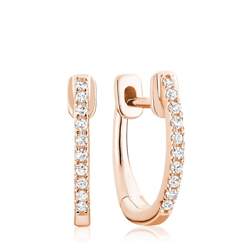 Boucles d'oreilles huggies pour femme - Or rose 10K & Diamants totalisant 0.08 Carat
