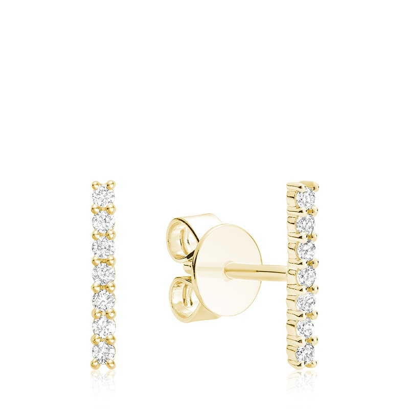 Boucles d'oreilles à tiges fixes pour femme - Or jaune 10K & Diamants totalisant 0.11 Carat