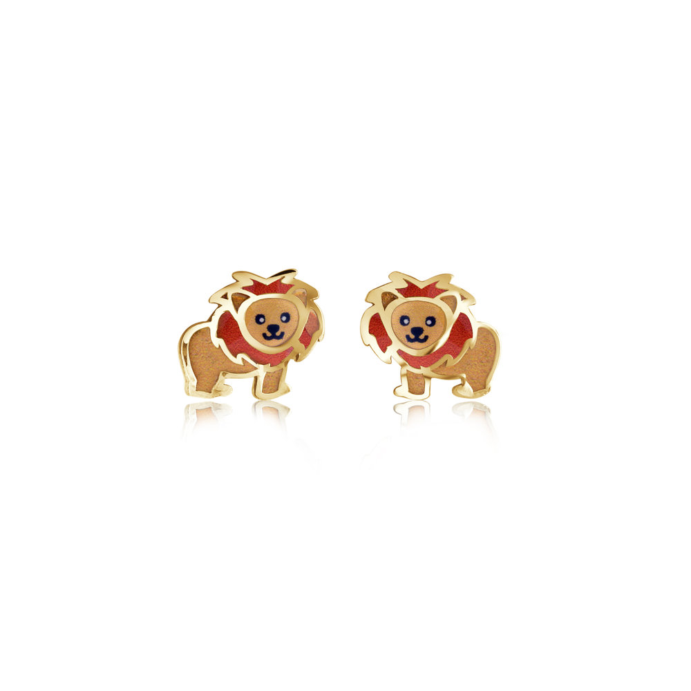 Lion stud earrings for child - 10K yellow gold & Enamel