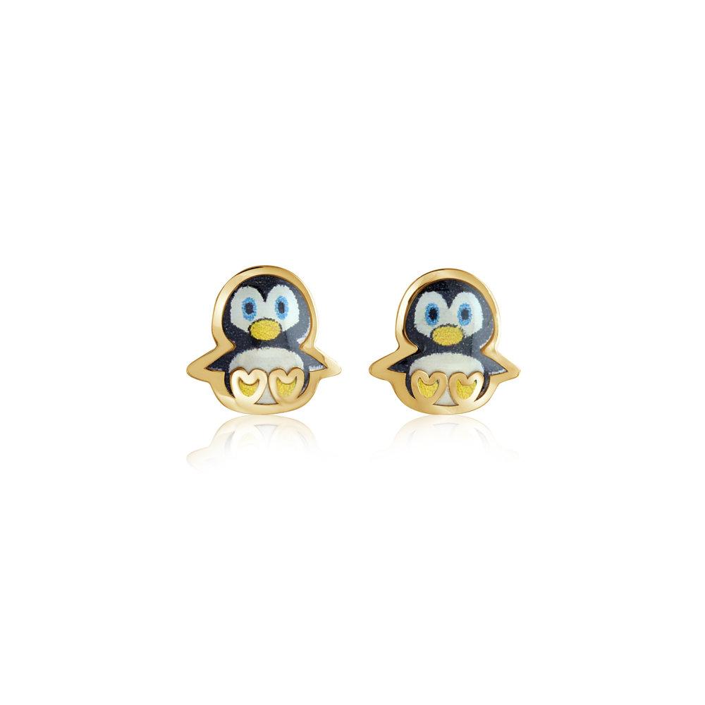 Penguin stud earrings for child - 10K yellow gold & Enamel