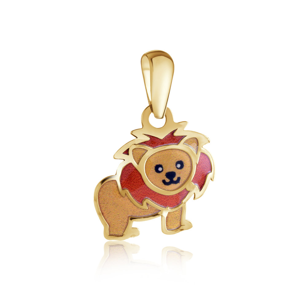 Lion pendant for child - 10K yellow Gold & Enamel