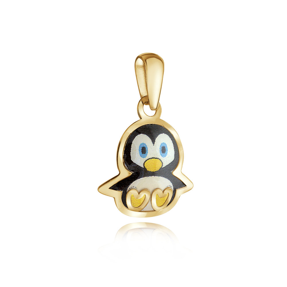 Penguin pendant for child - 10K yellow Gold & Enamel