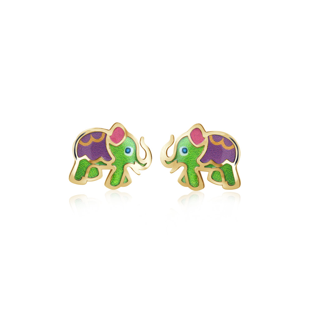 Elephant stud earrings for child - 10K yellow gold & Enamel