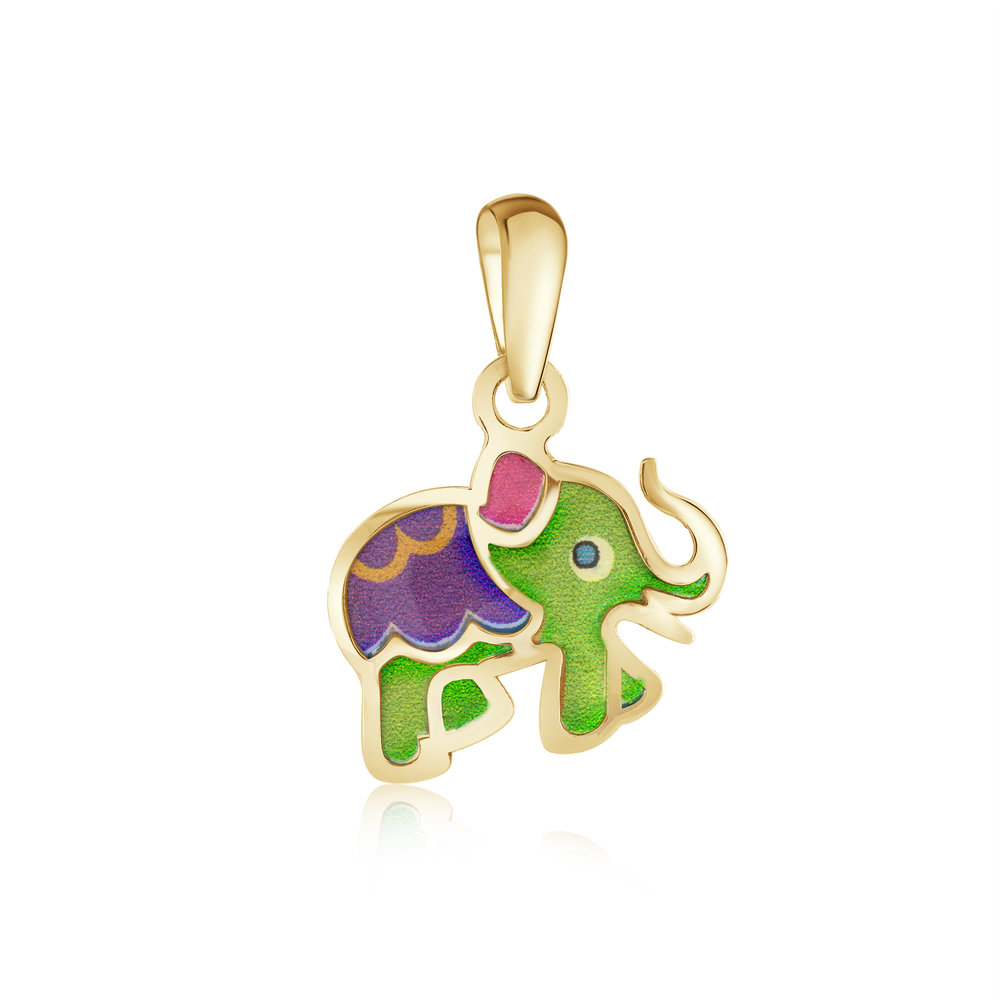 Elephant pendant for child - 10K yellow Gold & Enamel