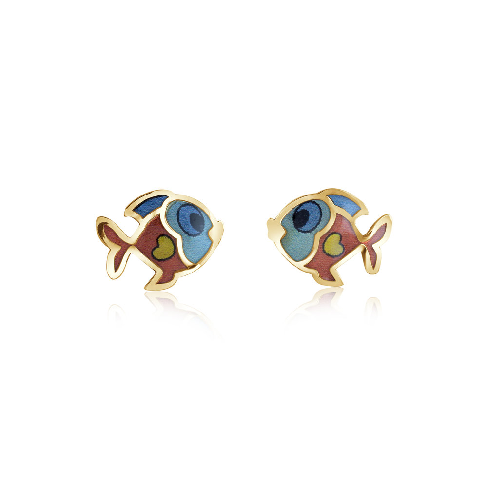 Fish stud earrings for child - 10K yellow gold & Enamel