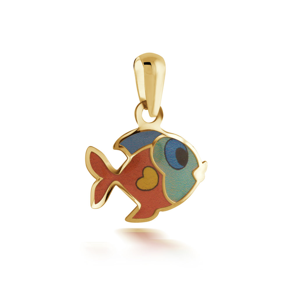 Fish pendant for child - 10K yellow Gold & Enamel