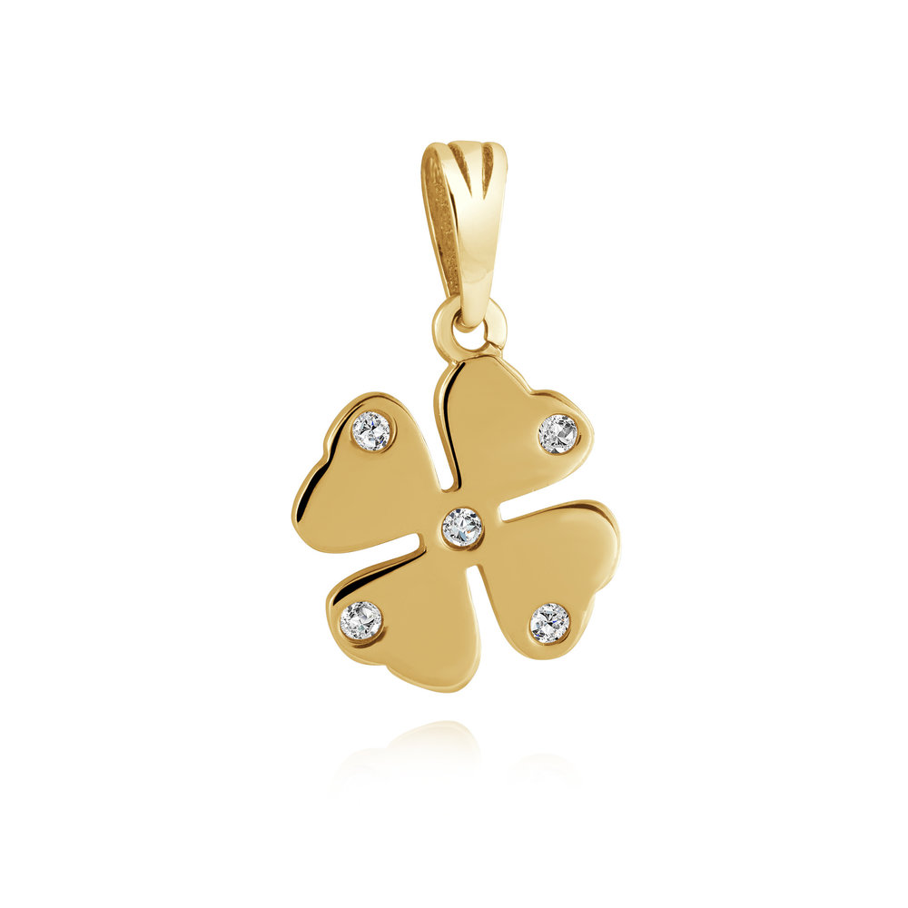 Clover pendant for woman - 10K yellow gold & Cubic zirconia