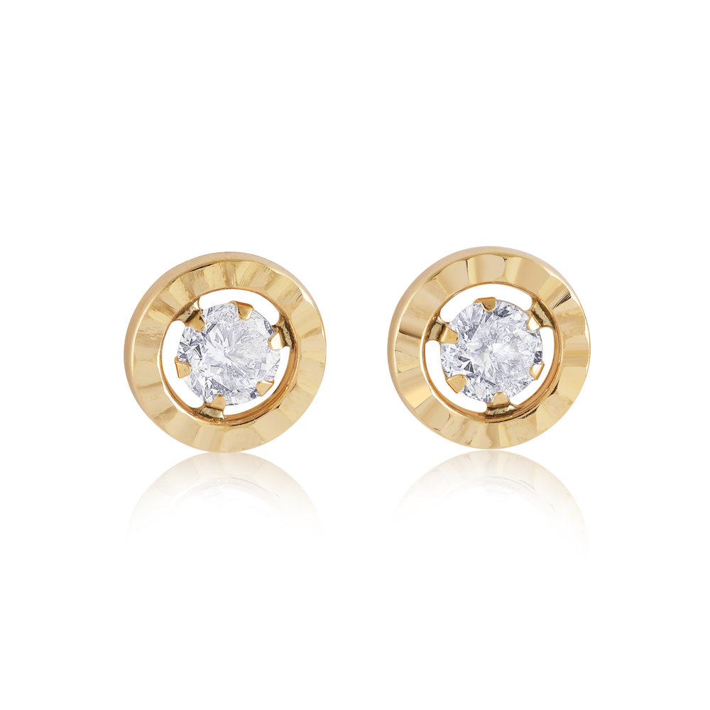Stud earrings for child - 10K yellow gold & Cubic zirconia