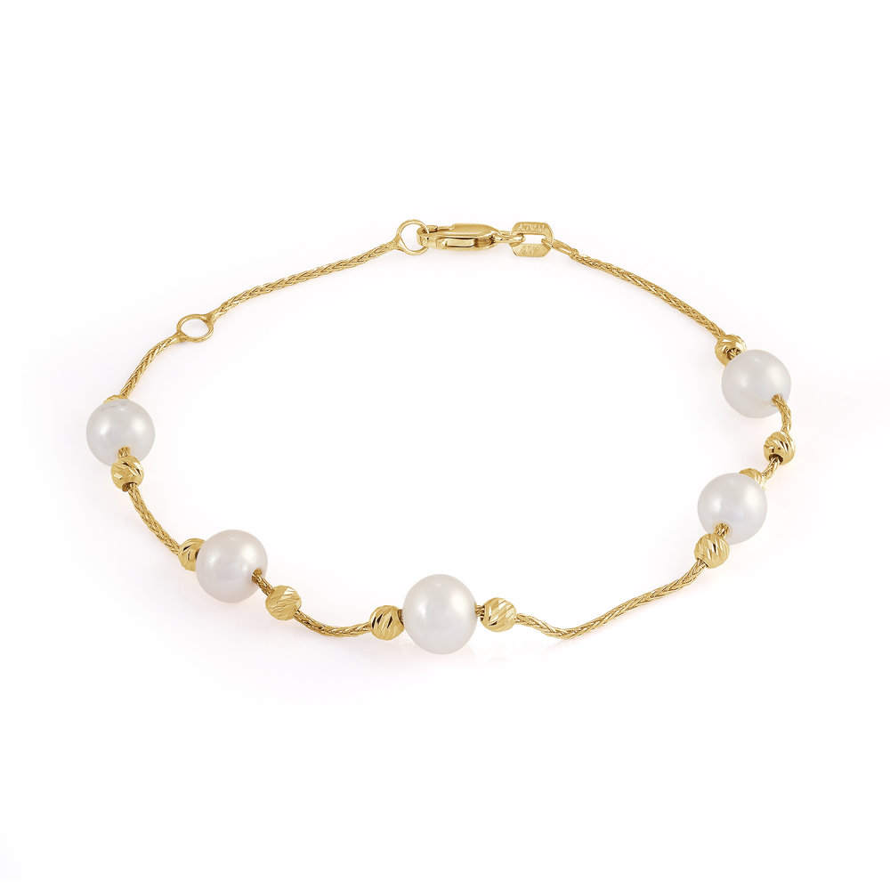 Bracelet for woman - 10K yellow gold & Pearls