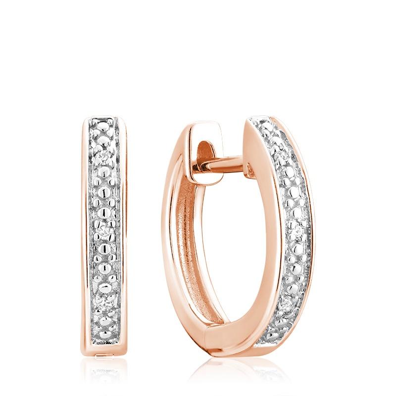 Boucles d'oreilles huggies pour femme - Or rose 10K & Diamants totalisant 0.03 Carat