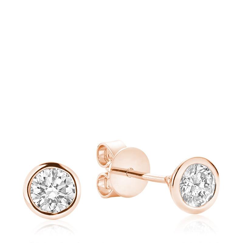 Boucles d'oreilles à tiges fixes pour femme - Or rose 10K & Diamants totalisant 0.10 Carat