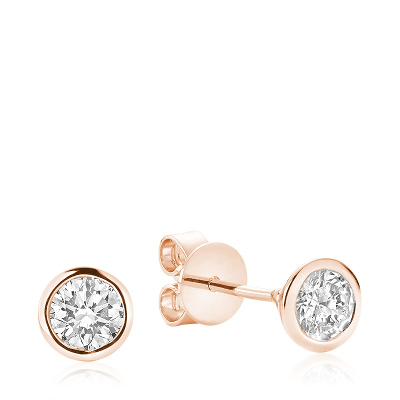 Boucles d'oreilles à tiges fixes pour femme - Or rose 10K & Diamants totalisant 0.15 Carat