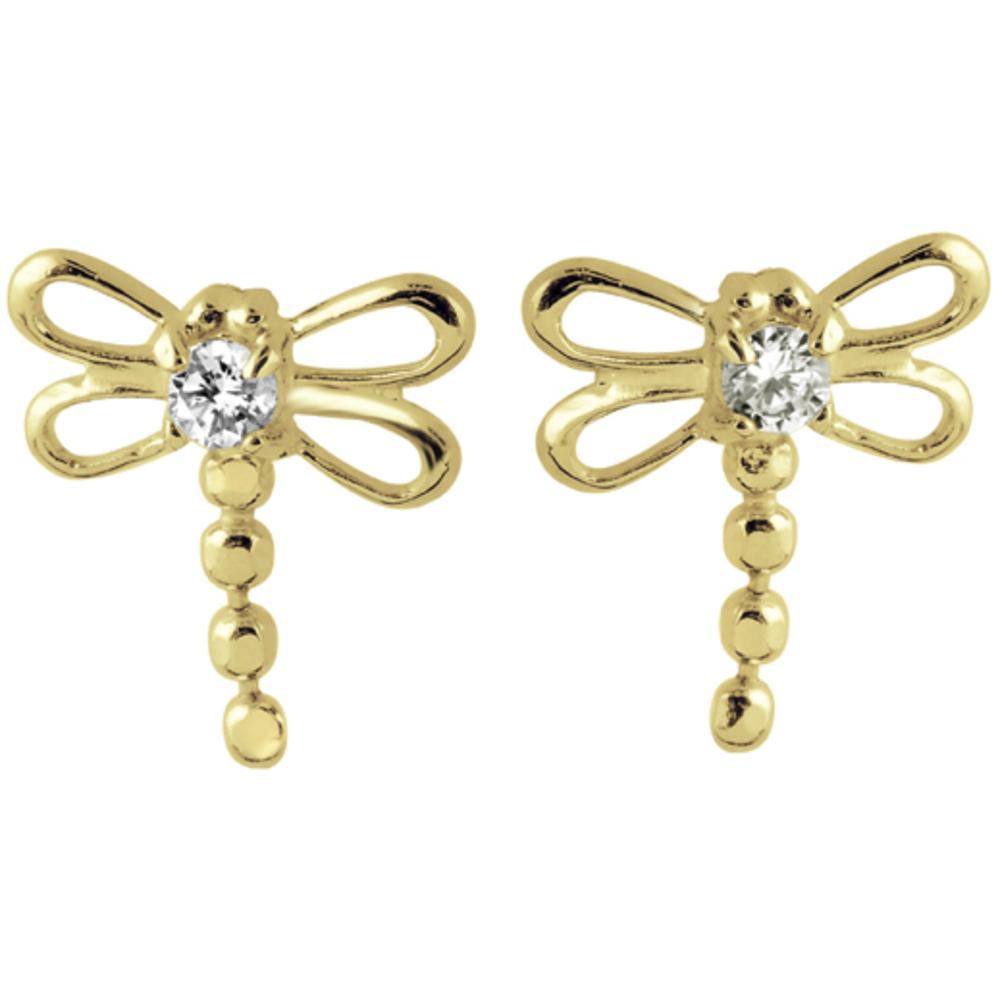 Boucles d'oreilles Enfant Or jaune 14K 'Libellules' serties de Zirconiums cubiques