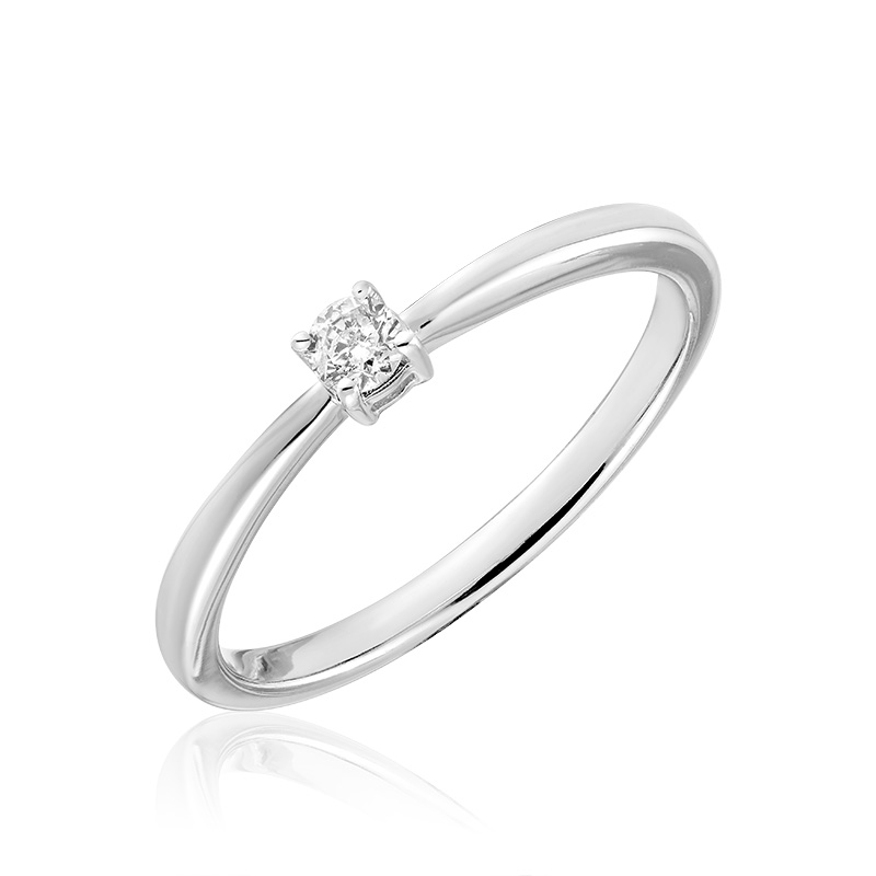 Engagement ring for woman - 10K white gold & Solitaire diamond T.W. 0.15 Carat