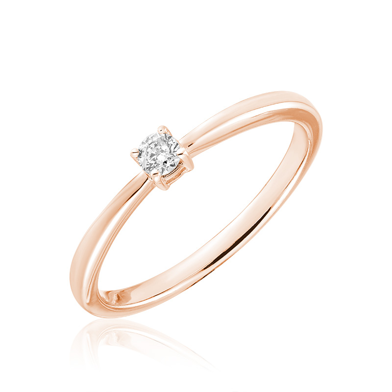 Engagement ring for woman - 10K rose gold & Solitaire diamond T.W. 0.15 Carat