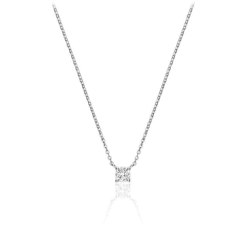 Collier pour femme - Or blanc 10K & Diamant solitaire de 0.08 carats